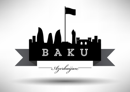 baku: Baku Skyline with Typographic Design