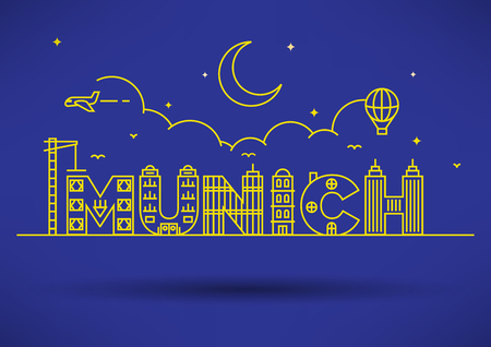 m�nchen: Munich City Typography Design with Building Letters Stock Illustratie
