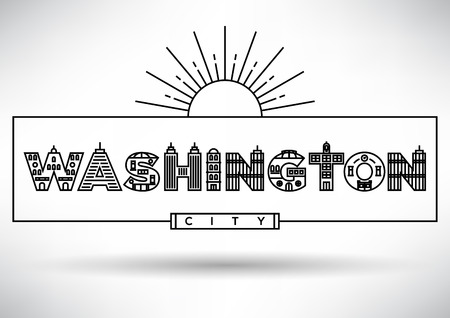 house under construction: Washington City Typography Design with Building Letters