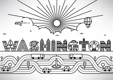 건물의 편지와 워싱턴시 타이포그래피 디자인
