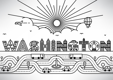 capital cities: Washington City Typography Design with Building Letters