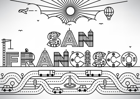 francisco: San Francisco City Typography Design with Building Letters