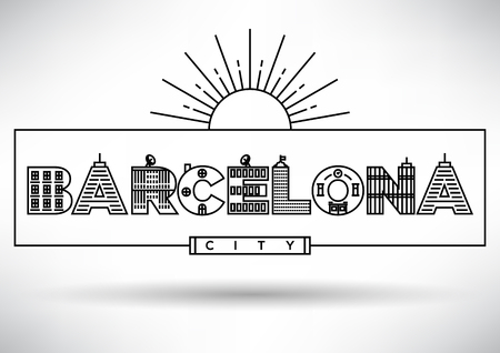 barcelone: Barcelona City Conception de typographie avec Lettres de construction Illustration