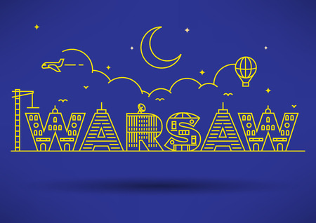 warsaw: Warsaw City Typography Design with Building Letters Illustration