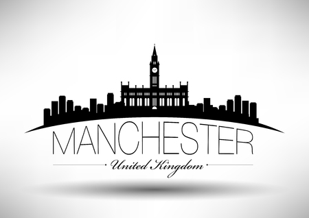 manchester: Manchester Skyline with Typography Design Illustration