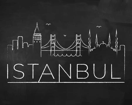 chalk line: Istanbul City Skyline with Chalk Drawing on a Blackboard Illustration