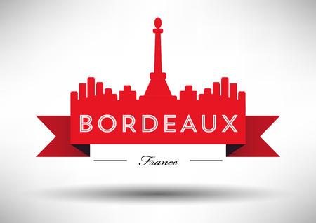 Bordeaux Skyline with Typographic Design