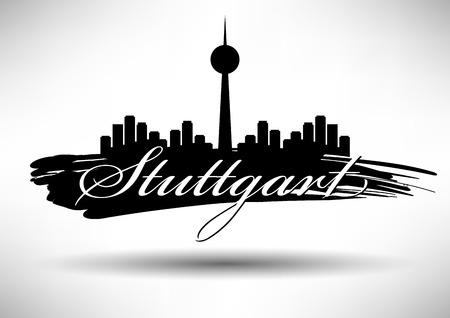 stuttgart: Stuttgart Skyline with Typographic Design