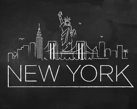 new york city skyline: New York City Skyline with Chalk Drawing on a Blackboard