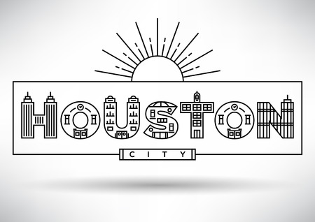 house under construction: Houston City Typography Design with Building Letters Illustration