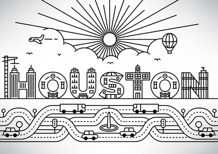 houston: Houston City Typography Design with Building Letters Illustration
