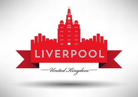 Liverpool Skyline with Typography Design Illusztráció