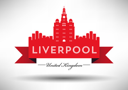 liverpool: Liverpool Skyline with Typography Design Illustration