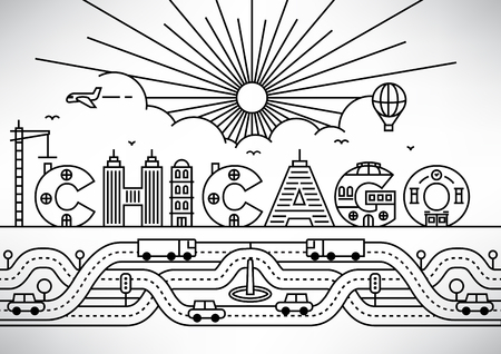 chicago city: Chicago City Typography Design with Building Letters Illustration
