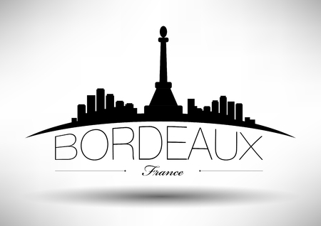 bordeaux: Bordeaux Skyline with Typographic Design