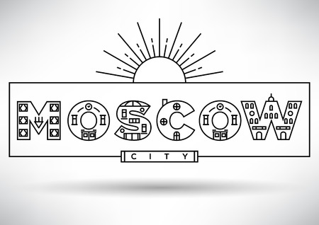 house under construction: Moscow City Typography Design with Building Letters
