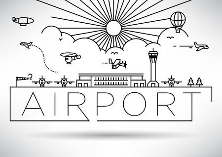 Ilustración Aeropuerto lineal vectorial Foto de archivo - 46245744