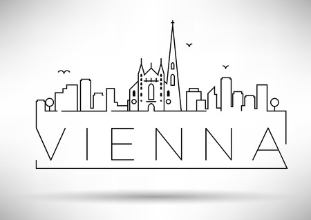Vienne linéaire Ville Silhouette avec conception typographique Banque d'images - 47417317