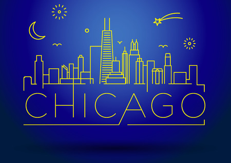 chicago city: Linear Chicago City Silhouette with Typographic Design Illustration