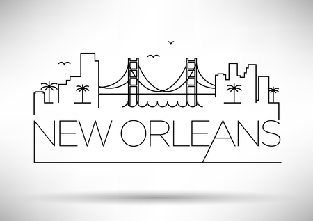 Linear New Orleans City Silhouette with Typographic Design