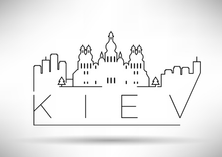 dome type: Linear Kiev City Silhouette with Typographic Design