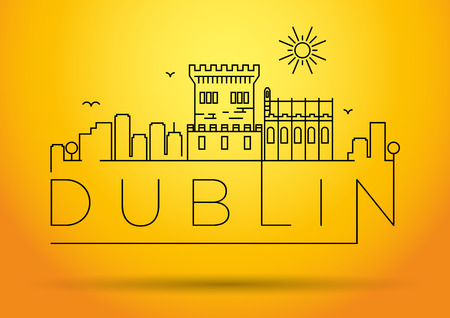 ireland cities: Linear Dublin City Silhouette with Typographic Design