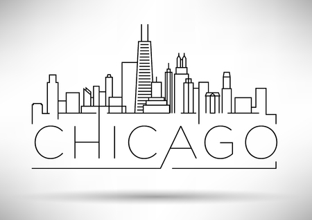 Linear Chicago City Silhouette with Typographic Design Vettoriali