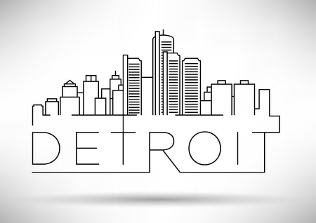 Linear Detroit City Silhouette with Typographic Design Illustration