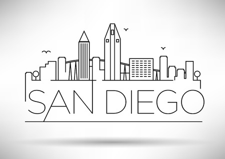 Linear San Diego City Silhouette with Typographic Design