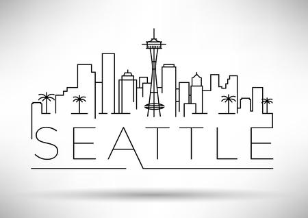文字体裁デザインと線形のシアトル都市シルエット  イラスト・ベクター素材