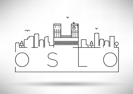 Linear Oslo City Silhouette with Typographic Design