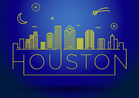 houston: Linear Houston City Silhouette with Typographic Design