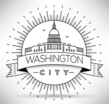 dc: Linear Washington D.C. City Silhouette with Typographic Design