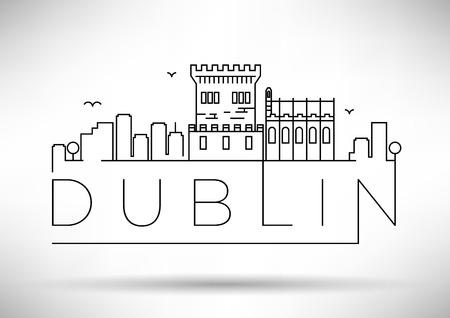 dublin: Linear Dublin City Silhouette with Typographic Design