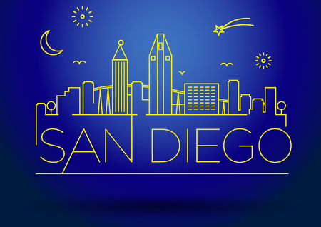 san diego: Linear San Diego City Silhouette with Typographic Design