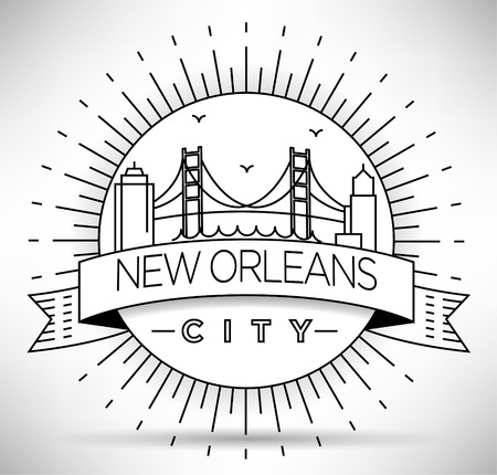 new orleans: Linear New Orleans City Silhouette with Typographic Design
