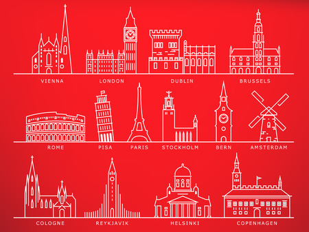 14 européennes Villes Monuments, linéaire Vector style
