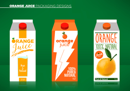 orange juice: Trendy Vector Orange Juice Packaging Template Illustration