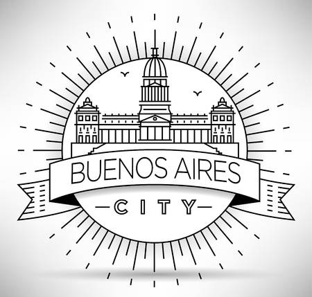 buenos: Minimal Buenos Aires City Linear Skyline with Typographic Design