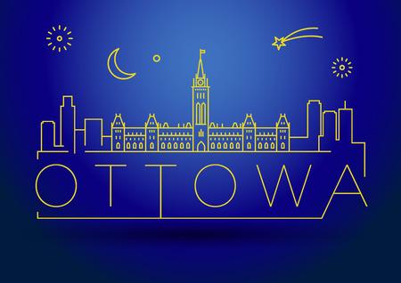 minimal: Minimal Ottowa City Linear Skyline with Typographic Design Illustration