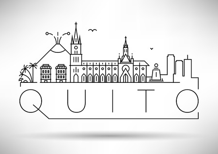 Minimal Quito City Linear Skyline with Typographic Design