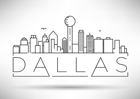 Minimal Dallas City Linear Skyline with Typographic Design Illustration