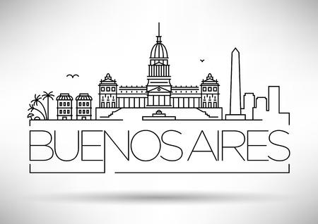 Skyline Minimal Buenos Aires Stad Linear met Typografische Vormgeving
