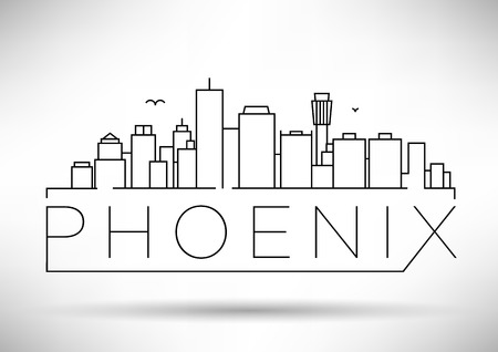 minimal: Minimal Phoenix City Linear Skyline with Typographic Design