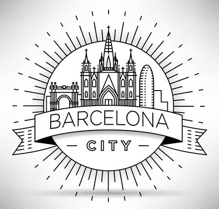 Minimal Barcelona City Skyline lineare con design tipografico