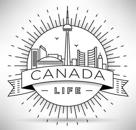 minimal: Minimal Canada Linear Skyline with Typographic Design Illustration