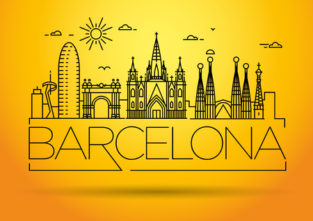 Minimal Barcelona City Linear Skyline with Typographic Design Vettoriali