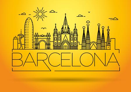 Minimal Barcelona City Linear Skyline with Typographic Design Illustration