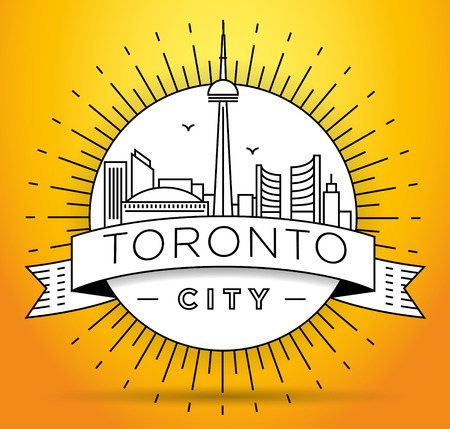 toronto: Minimal Toronto City Linear Skyline with Typographic Design Illustration