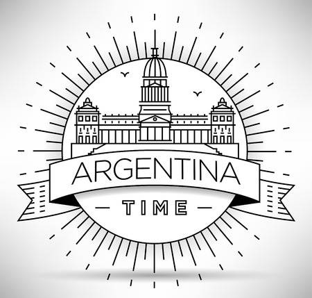minimal: Minimal Argentina Linear Skyline with Typographic Design Illustration